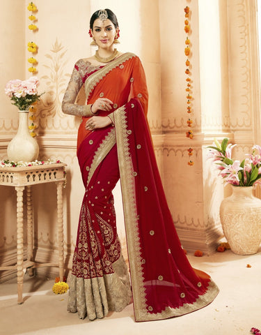 Red Color Chiffon Saree - TSNCD1113