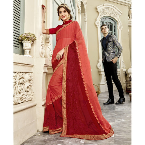 Peach and Red Color Georgette Saree - TSNELZ30801