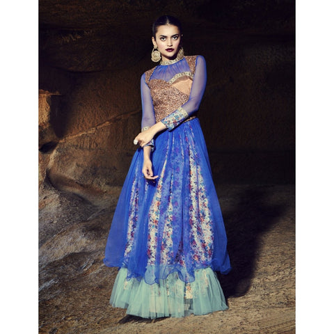 Blue Color Art Silk Semi Stitched Gown - TSNG203