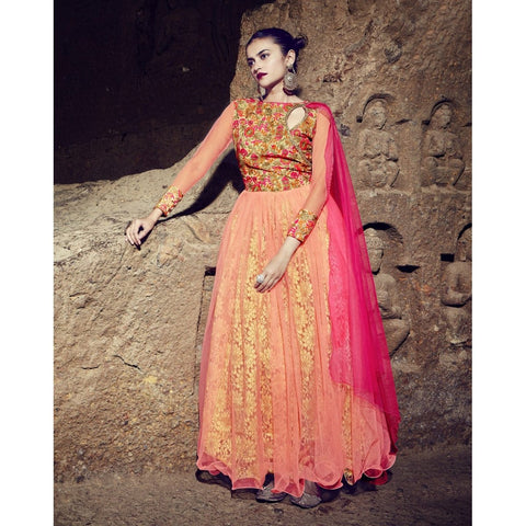 Orange Color Net Semi Stitched Gown - TSNG204