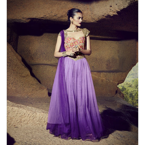 Purple Color Net Semi Stitched Gown - TSNG206
