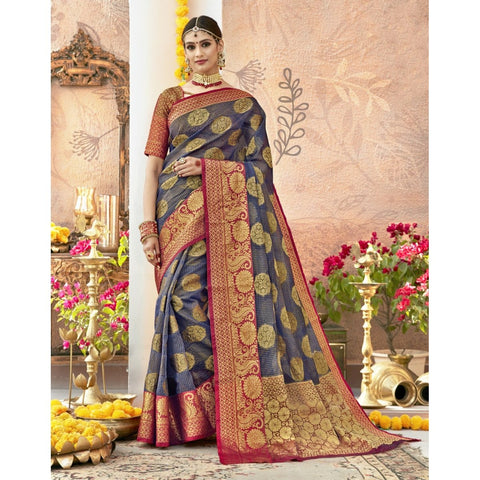 Grey Color Tissue Saree - TSNGLS24601