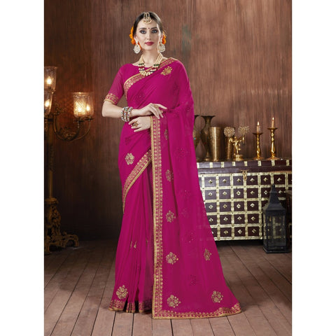 Magenta Color Georgette Saree - TSNKIMY27507