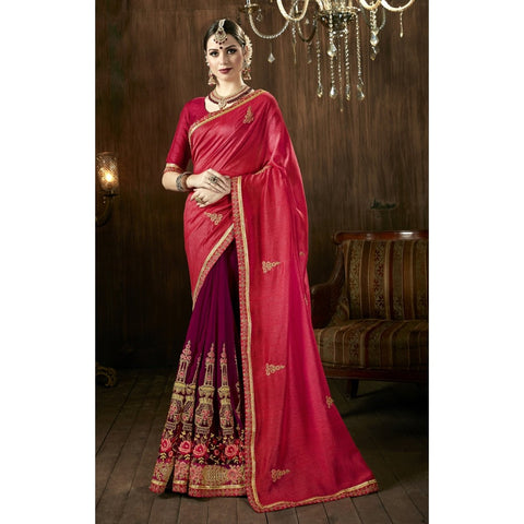 Pink Wine Color Art Silk Georgette Saree - TSNKRY28804