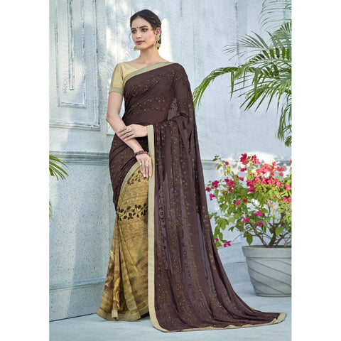 Brown Beige Color Georgette Saree - TSNNOR18104