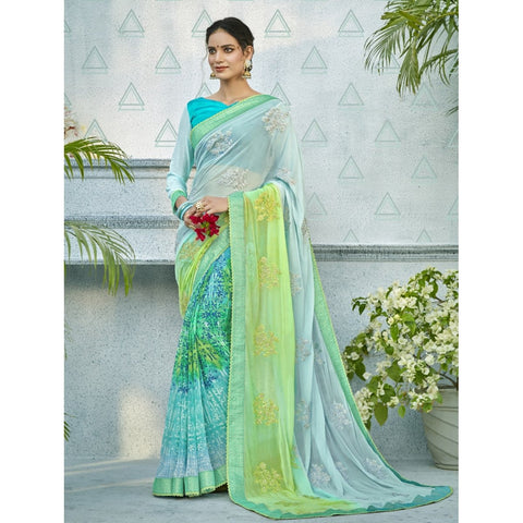 Sea Green Color Georgette Saree - TSNNOR18105