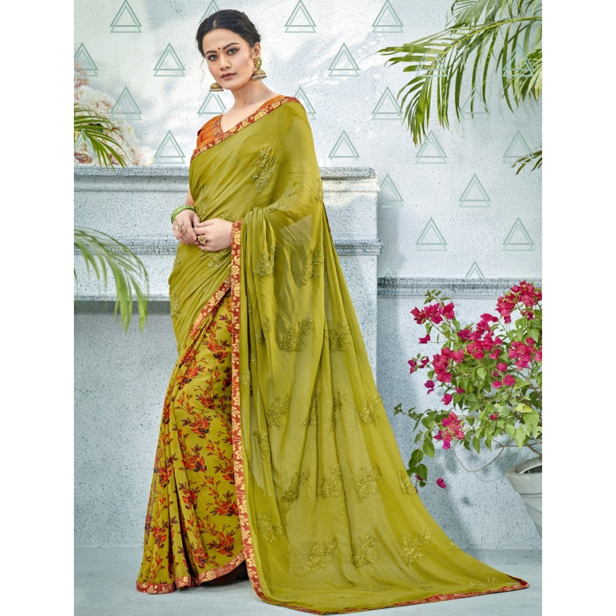 Mehndi Color Georgette Saree , TSNNOR18107