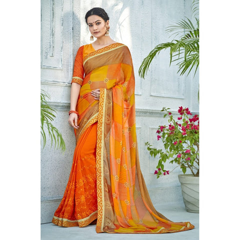 Orange Color Georgette,Chiffon Saree - TSNNOR18108