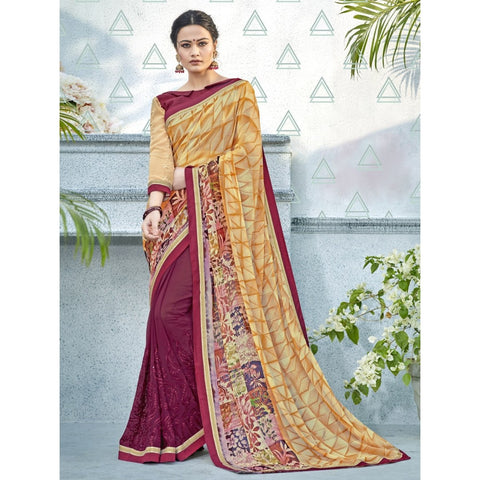 Maroon Beige Color Georgette Saree - TSNNOR18109