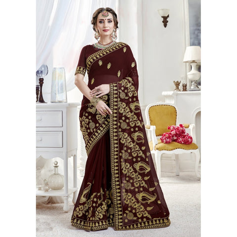 Brown Color Georgette Saree - TSNPDM28403
