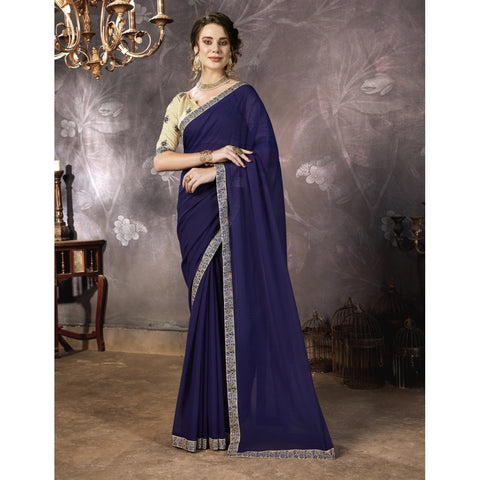 Nevy Blue Color Georgette Saree - TSNPRT50211