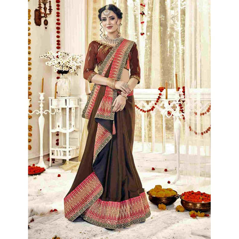 Brown Color Satin Saree - TSNQFIR25608