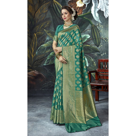 Sea Green Color Crape Saree - TSNSBH30603