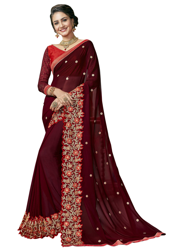 Maroon Color Georgette Saree