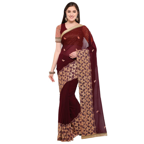 Brown Color Net And Pure Georgette Saree  - TSNSM6014