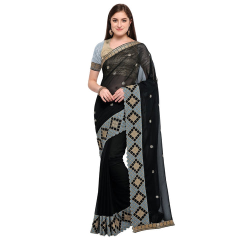 Black Color Net And Pure Georgette Saree  - TSNSM6016