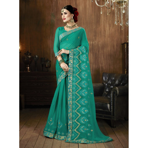 Sea Green Color Georgette Saree - TSNSMR27702