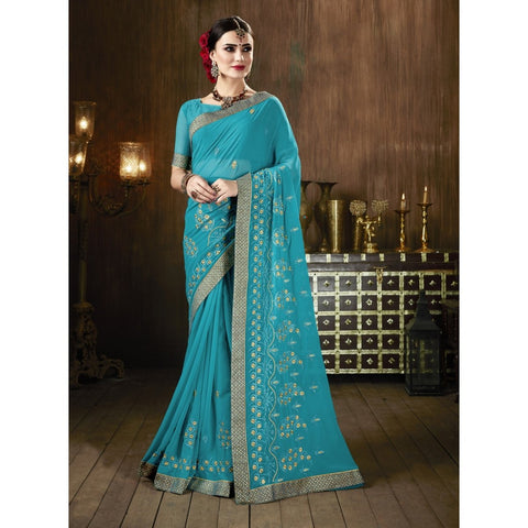 Sky blue Color Georgette Saree - TSNSMR27705