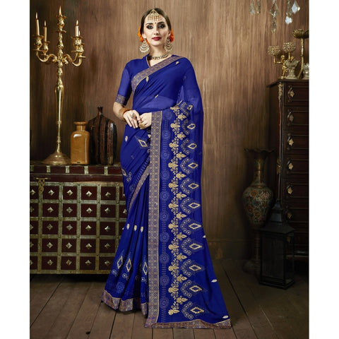 Blue Color Georgette Saree - TSNSMR27707