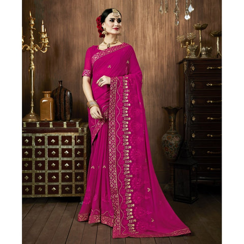 Magenta Color Georgette Saree - TSNSMR27708