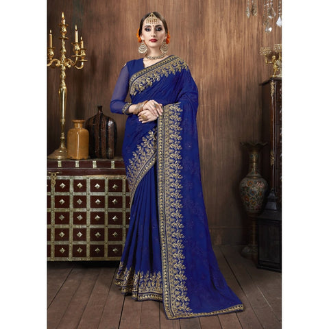 Blue Color Georgette Saree - TSNSVK28104