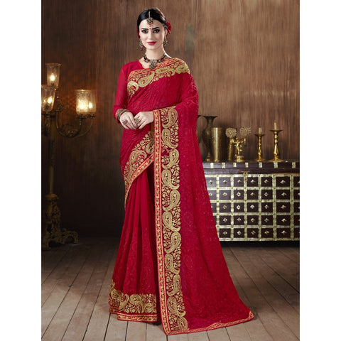 Maroon Color Georgette Saree - TSNSVK28105