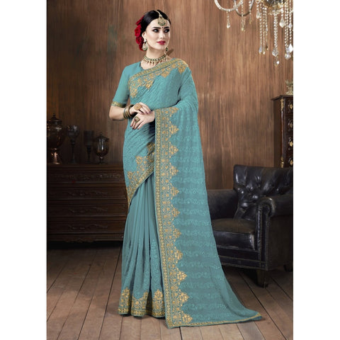 Sky Blue Color Georgette Saree - TSNSVK28107