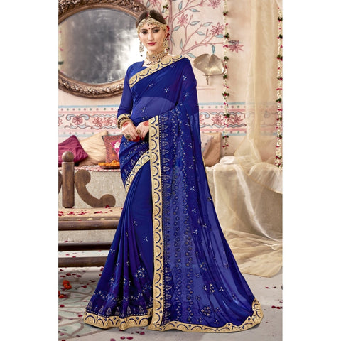 Blue Color Georgette Saree - TSNZNT26902