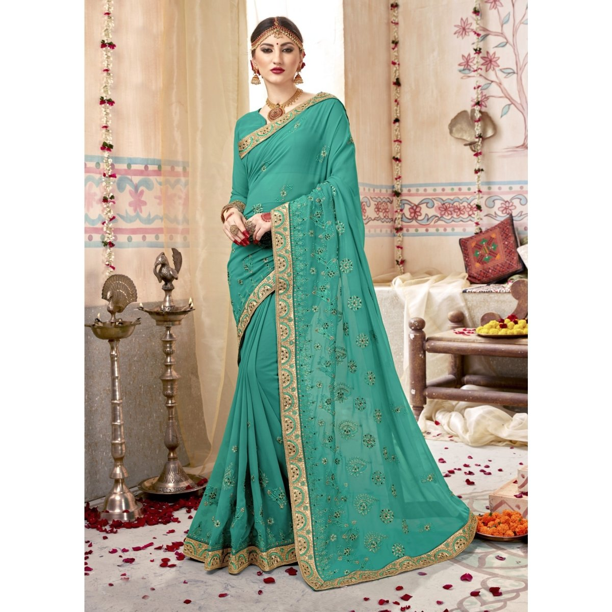 a3f4d211b7 Buy Sea Green Color Georgette Saree. TRIVENI SAREES