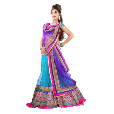 Blue Color Net Semi Stitched Lehenga - TSSF10016