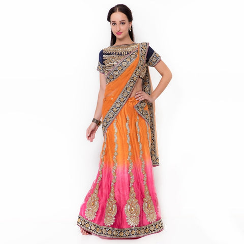 Multi Color Net And Satin Semi Stitched Lehenga - TSSF5004