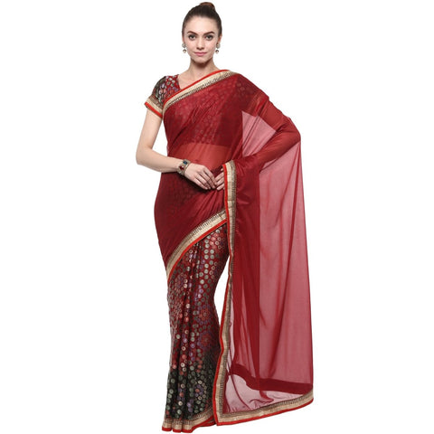 Maroon Color Faux Georgette And Lycra Saree  - TSSF9401