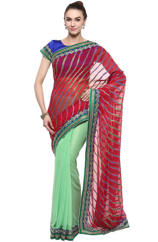 Multi Color Brasso,Lycra and Faux Georgette Saree - TSSF9414