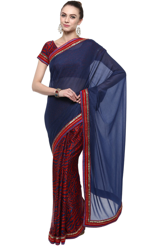 Red and Blue Color Brasso,Lycra and Faux Georgette Saree