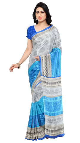 White and SkyBlue Color Crepe Saree - TSSUNCS13351