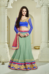 Green Color Net Unstitched Lehenga