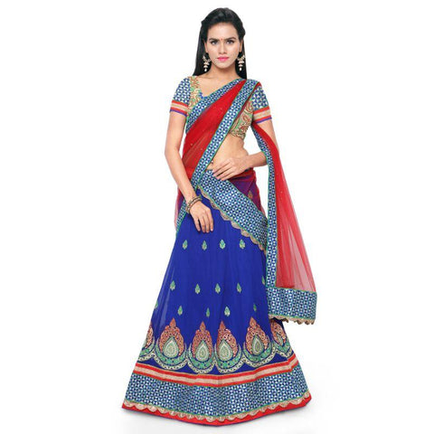Blue Color Faux Georgette Unstitched Lehenga - TT-3023-D