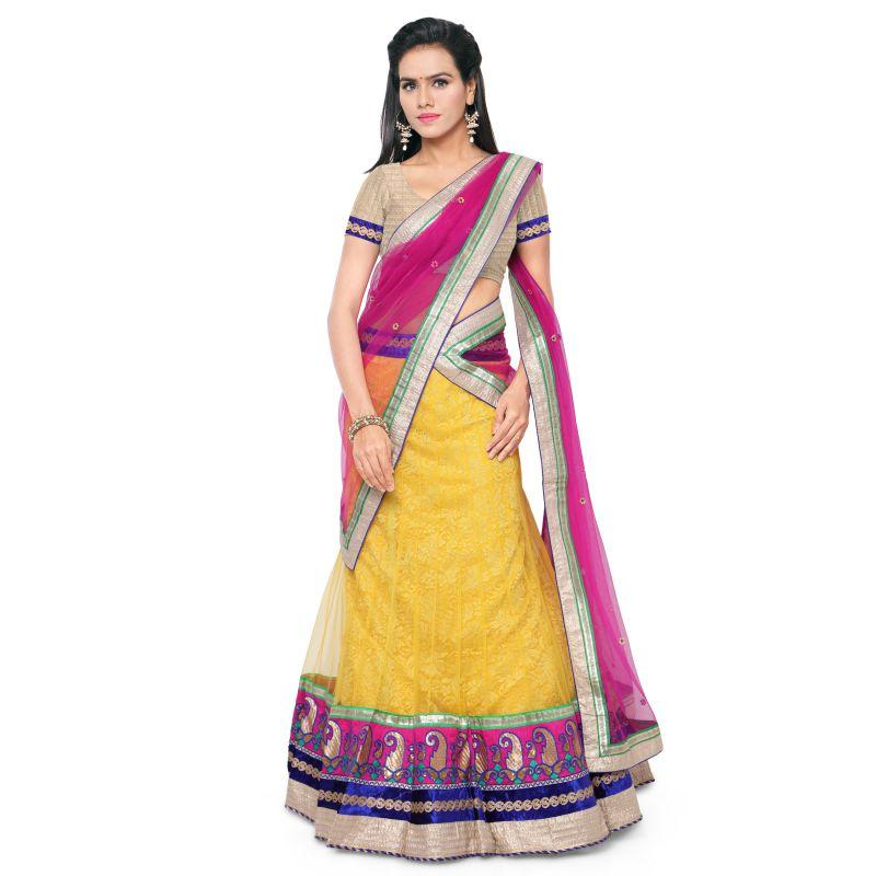 Yellow Color Shimmer Net Unstitched Lehenga