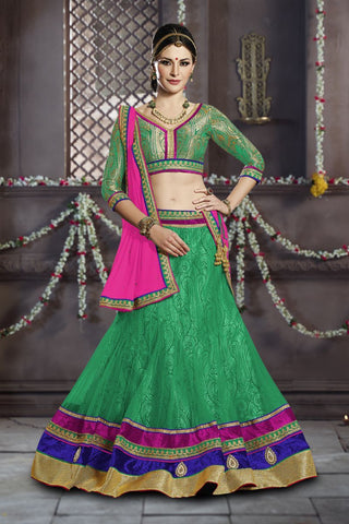 Green Color Faux Georgette Unstitched Lehenga - TT-5316