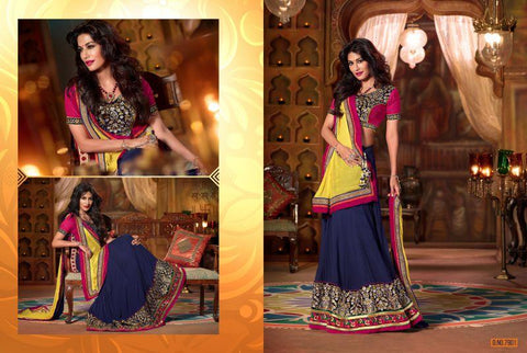Blue Color Faux Georgette Unstitched Lehenga - TT-7901