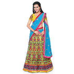 Multi Color Net Unstitched Lehenga