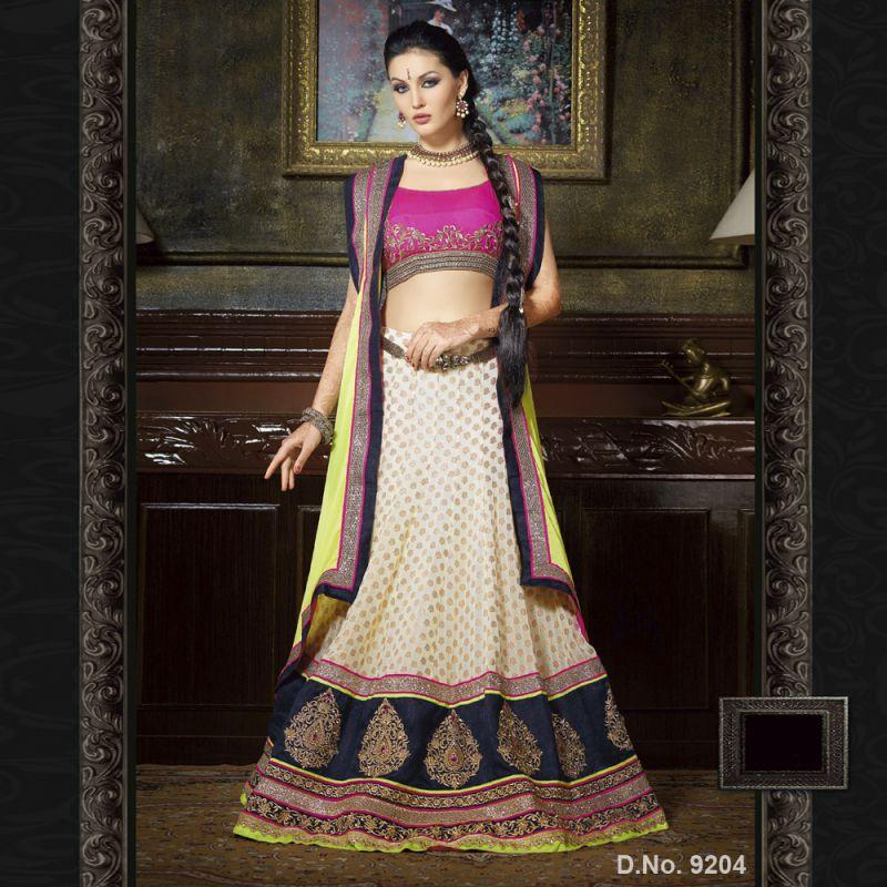 OffWhite Color Georgette and Jacquard Unstitched Lehenga