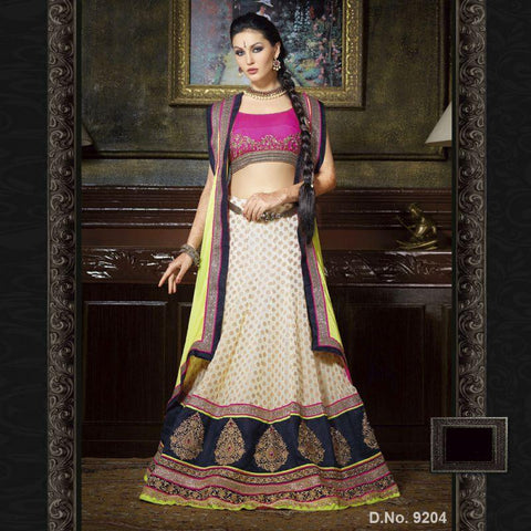 OffWhite Color Georgette and Jacquard Unstitched Lehenga - TT-9204