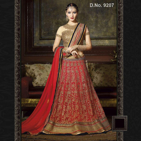 Maroon Color Net Unstitched Lehenga - TT-9207