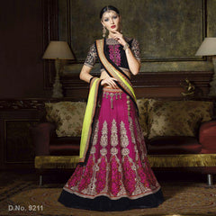 Wine Color Net Unstitched Lehenga