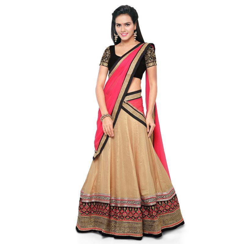 Golden Color ArtSilk Unstitched Lehenga