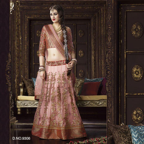 Peach Color Net Unstitched Lehenga - TT-9306