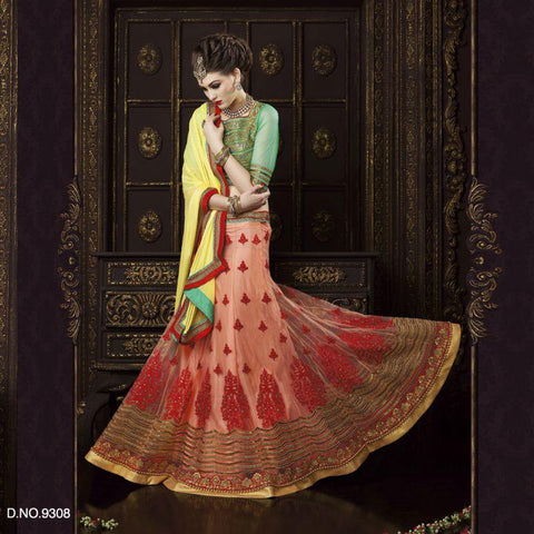 Peach Color Net Unstitched Lehenga - TT-9308