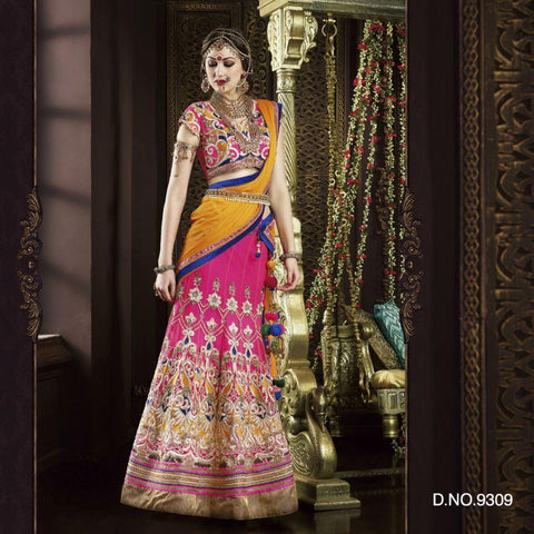 Fuchsia Color Net Unstitched Lehenga - TT-9309