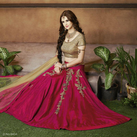 Fuchsia Color Silk Unstitched Lehenga - TT-9404
